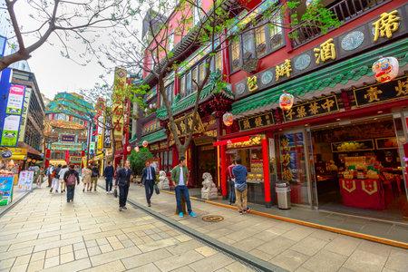 Yokohama, Japan - April 21, 2017: asian people walking in Yokohama Chinatown pedestrian street area. The largest Japanese Chinatown. Editorial