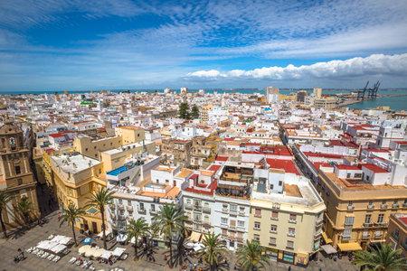 Cadiz, Andalusia, Spain - April 21, 2016: Aerial view of Cadiz Square on a sunny day by the Cathedral of Cadiz, in Spanish: Iglesia de Santa Cruz, Cadiz, Andalusia, Spain.