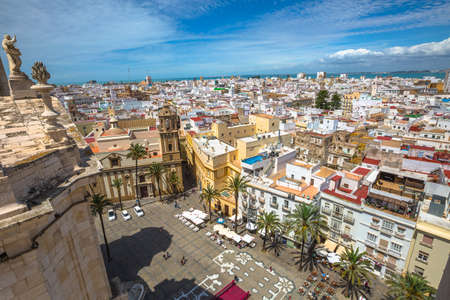 Cadiz, Andalusia, Spain - April 21, 2016: Cadiz Square Aerial view on top of the Cathedral of Cadiz, in Spanish: Iglesia de Santa Cruz, Cadiz, Andalusia, Spain. Editorial