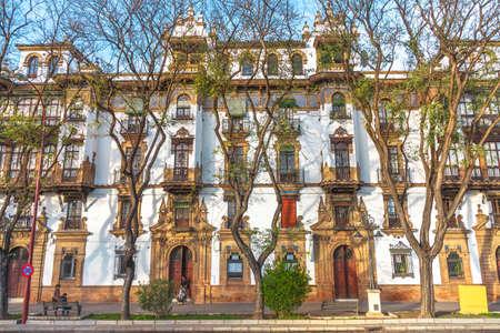 Seville, Andalusia, Spain - April 18, 2016: Renaissance house building in seville city downtown.