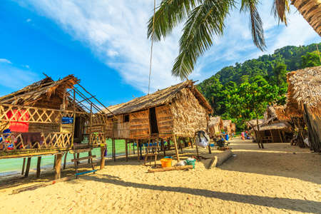 Surin Islands, Phang Nga, Thailand - January 3, 2016: wooden houses of Moken Village of the Thai Sea Gypsies. Fisherman village Ko Surin Marine National Park, Andaman Sea, North Phuket.