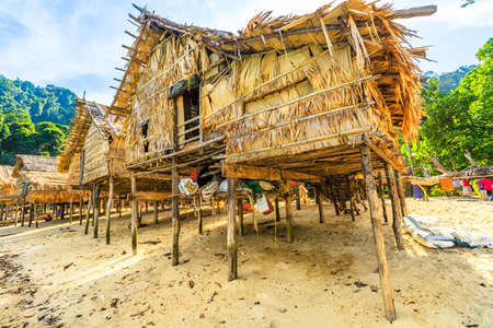 Surin Islands, Phang Nga, Thailand - January 3, 2016: wooden house of Moken Village of the Thai Sea Gypsies. Fisherman village Ko Surin Marine National Park, Andaman Sea, North Phuket.