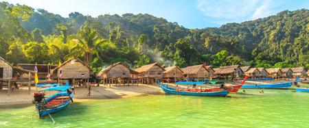 Surin Islands, Phang Nga, Thailand - January 3, 2016: panoramic view of th wooden Moken Village of the Thai Sea Gypsies. Fisherman village in Ko Surin Marine National Park, Andaman Sea, North Phuket. Editorial