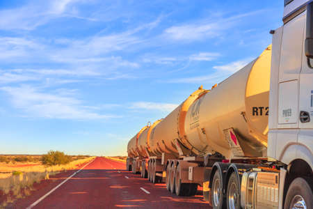 Northern Territory, Australia - August 29, 2019: fuel road-train truck crossing the highways of the Northern Territory of Australian Outback.