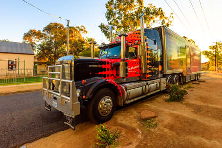 Alice Springs, Northern Territory, Australia - August 14, 2019: Western Star truck of Shell Questacon Science Circus. Parked at sunset in Alice Springs.