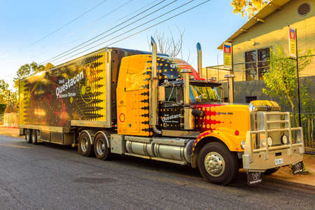 Alice Springs, Northern Territory, Australia - August 14, 2019: Western Star truck of Shell Questacon Science Circus. Parked in Alice Springs at sunset.