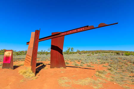 Alice Springs, Northern Territory Outback, Australia - Aug 16, 2019: Red Centre Way sign on Larapinta drive Highway of Alice Springs. Tourism in Australia Red Centre.