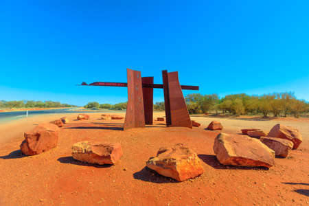 Northern Territory Outback, Australia - Aug 20, 2019: Red Centre Way sign between Lasseter Highway to Yulara, Kata Tjuta and Uluru and Luritja Road to Kings Canyon. Tourism in Australia Red Centre Editorial