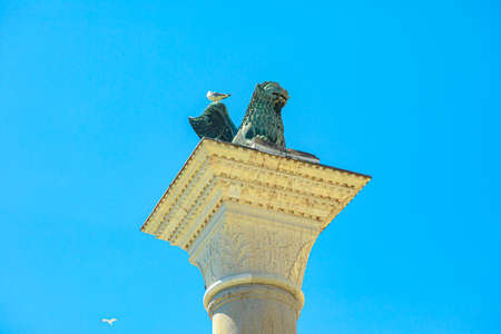 Venetian Winged lion statue of San Marco in Venice. Located in Saint Mark square popular landmark of Venice city in Italy.