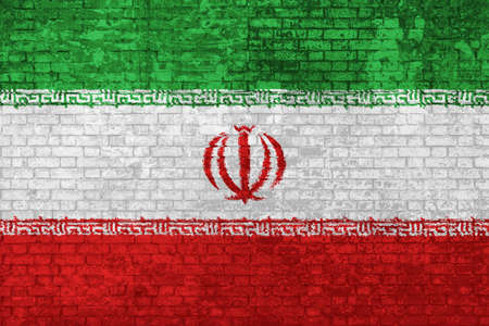 wall of bricks painted with the Iranian flag isolated background. Islamic Republic of Iran flag 3D illustration. Concept of social barriers of immigration, divisions, and political conflicts in Iran.