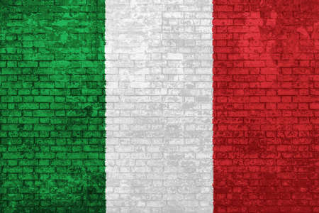 wall of bricks painted with the flag of Italy, green white and red colors. 3d background. Concept of social barriers of immigration, divisions, and political conflicts in Italy.