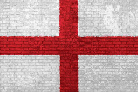 wall of bricks painted with the national England flag in 3d background. Concept of social barriers of immigration, divisions, and political conflicts in England. Stok Fotoğraf