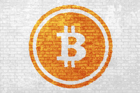 wall of bricks painted with the bitcoin symbol, isolated on white background. Crypto-currency background for virtual money and store of value. Political conflicts in Cryptocurrencies regulation.