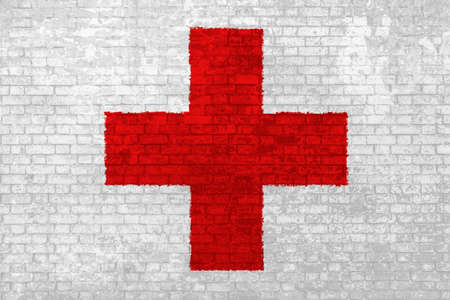 Wall of bricks painted with the Red Cross in 3D background. Concept of social barriers of healthcare, divisions, and urban conflicts. Symbol of hospital and first aid.