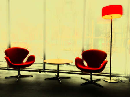 vintage chairs and lamp Imagens