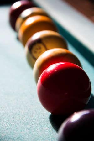 row of pool balls Imagens