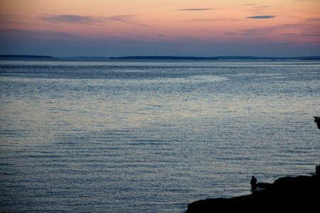 Sunset on the ocean in Southwest Harbor Maine