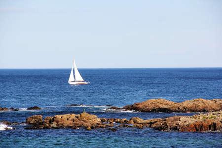Sailboat on the sea in Ogunquit Maine Stock fotó