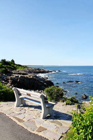 Bench by the sea in Ogunquit Maine