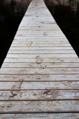 Dock with footprints at Mt Desert Campground Imagens