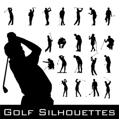 golf swing: Golfing Silhouettes