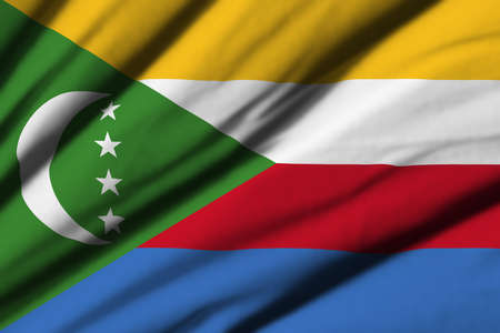 comores: High detailed waving flag of different countries from all over the world.
