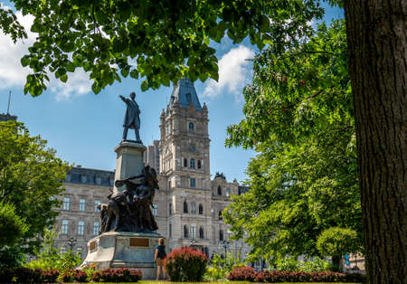 Parliament of Quebec with its nice tower. The Jacques Cartier building is an old and huge house where big decisions are made for Quebec province. A nice walk with trees and plants surround that beautiful house.
