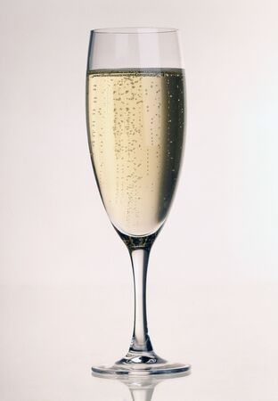 wine grower: A glass of Champagne with heights of bubbles