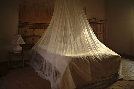 malaria: A room in Africa with the mosquito net