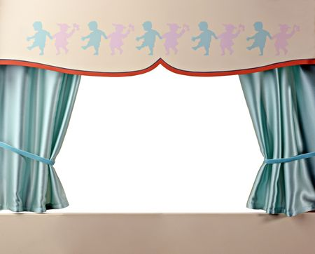 puppet theatre: A little theater with green curtains