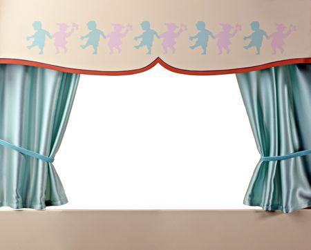 titeres: Un poco de teatro con las cortinas verdes