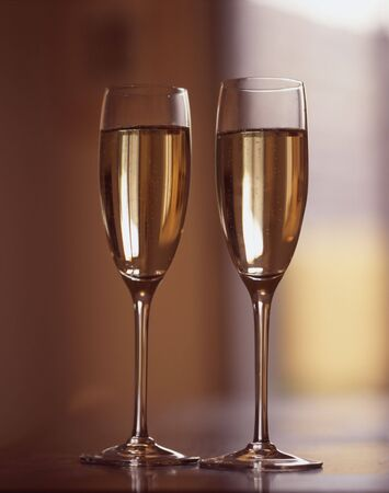 wine grower: Two glasses of Champagne put on a table Stock Photo