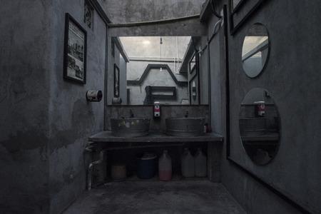 Grey toilets in Penang, Malaysia Stock Photo