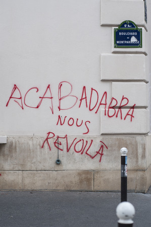 Graffitis and damaged places seen on the 14th of June 2016 after the riots in Paris against the Work Law Editorial