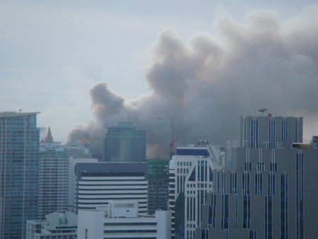 BangkokThailand - 19 05 2010: Red Shirts set up barricades and businesses on fire around Central Bangkok.