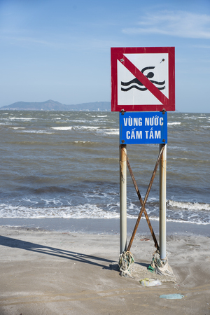 No swimming sign in Can Gio, Vietnam.