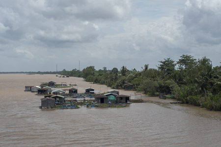Floating fish farms on the Mekong River in the delta, Vietnam