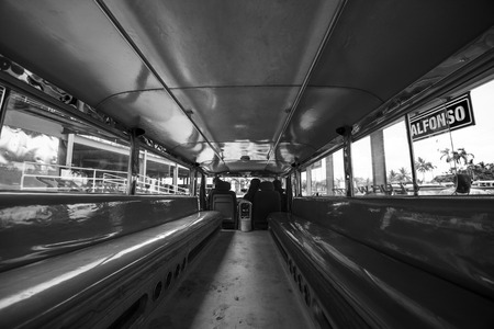 Inside of an empty Jeepney in Batangas, the Philippines.
