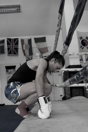 Female Muay Thai fighter from the French national team prepares  in Bangkok, Thailand, for an international competition.