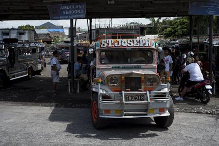 Jeepneys terminal in Legazpi in the Philippines. Stock Photo - 112496648