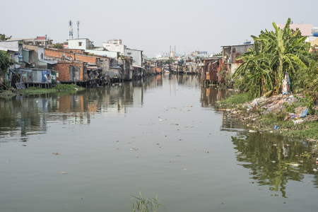Slum on a river in Ho Chi Minh City, Vietnam