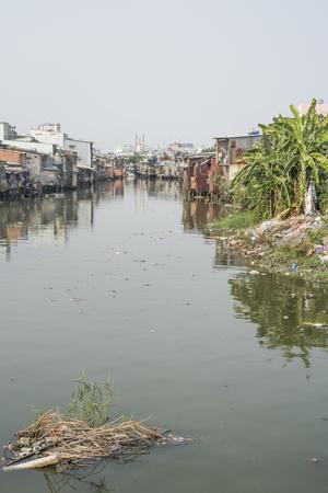 Slum on a river in Ho Chi Minh City, Vietnam