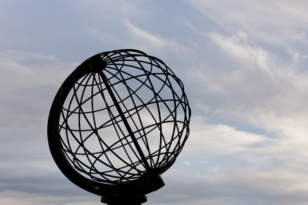 Globe Monument at North Cape. Norway , North Cape. Stock Photo