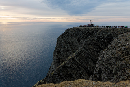 Globe Monument at North Cape, Norway with sea background Stock Photo