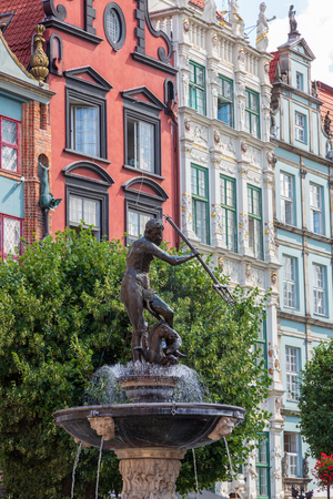 City view of Gdansk, Poland, Neptunes Fountain. Redactioneel