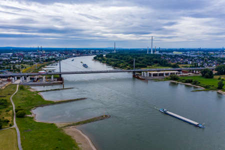 Panoramic view of the A1 motorway bridge on the Rhine near Leverkusen. Drone photography.
