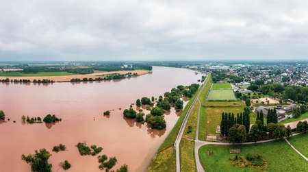 Flood on the river Rhine near Düsseldorf, Germany. Drone photography.