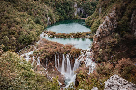 An amazing view of Plitvice Lakes from the other side or the park high up Reklamní fotografie