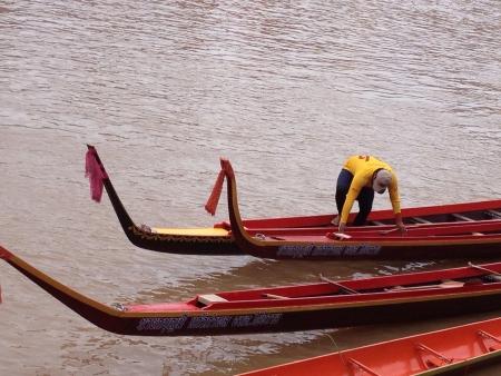 paddler: The paddler of yellow team. Stock Photo