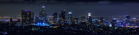 night cityscape of downtown Los Angeles, CA.